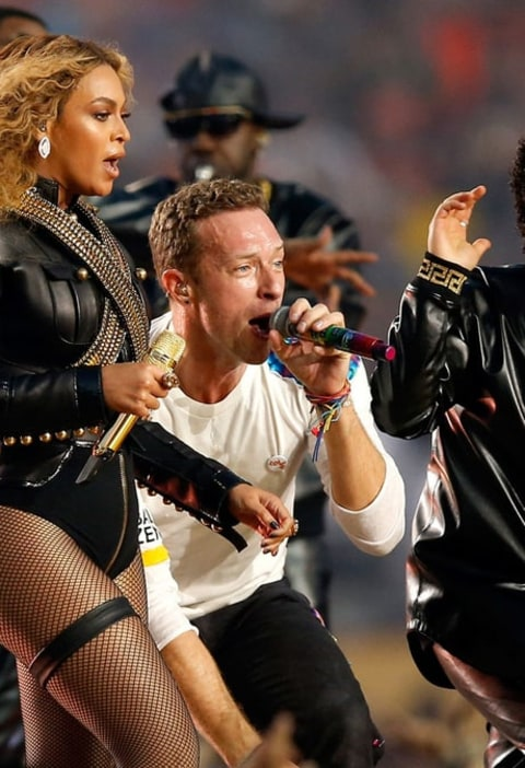 Beyonce, Chris Martin of Coldplay and Bruno Mars perform during the Pepsi Super Bowl 50 halftime show