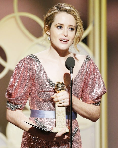 Claire Foy accepts the award for Best Actress in a TV Series - Drama for her role in