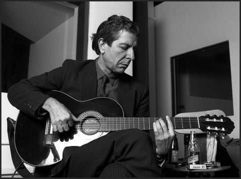 Leonard Cohen, Canadian poet and singer-songwriter, plays some of his songs in a small recording studio, lower Manhattan, New York, mid 1980s.