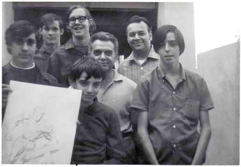 From left to right, Dan Stewart, Bob Sourk, Richard Alf (the tall guy with glasses), Barry Alfonso (in front), Jack