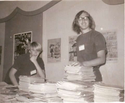 Mike Towry (left) and Richard Alf at their comic-dealer tables in the basement of the U.S. Grant Hotel at the March 21, 1970 one-day San Diego's Golden State Comic-Minicon. [photo by Shel Dorf]