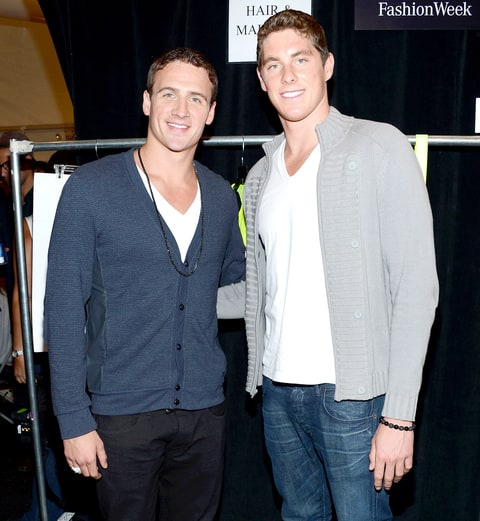 Ryan Lochte and Conor Dwyer pose backstage at the Milly By Michelle Smith Spring 2013 fashion show during Mercedes-Benz Fashion Week at The Stage Lincoln Center on September 12, 2012 in New York City.