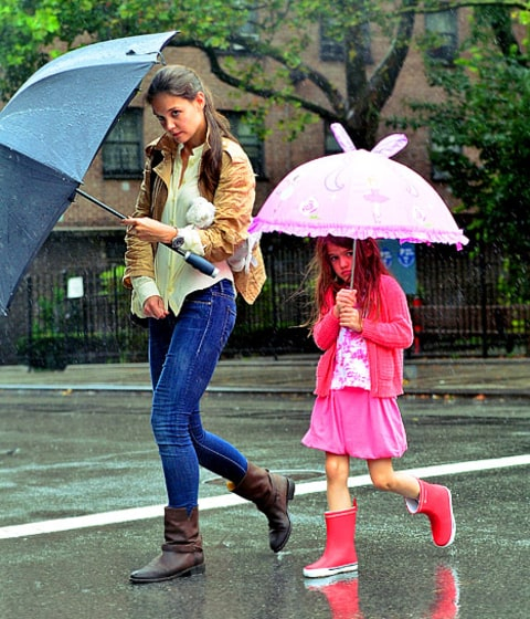 Katie and Suri in rain