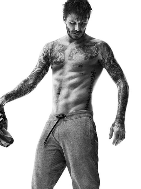 David Beckham no shirt