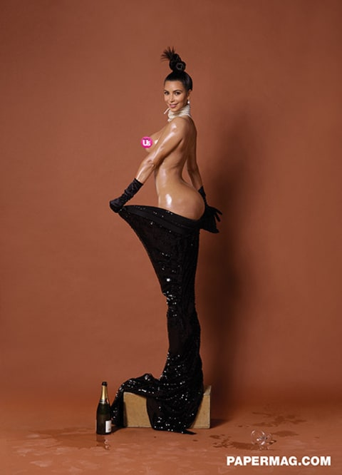 Kim Kardashian side view paper magazine