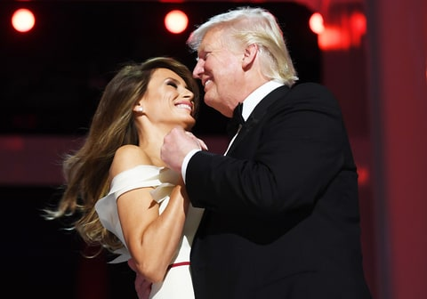 US President Donald Trump and the first lady Melania Trump dance at the Liberty Ball at the Washington DC Convention Center following Donald Trump's inauguration as the 45th President of the United States, in Washington, DC, on January 20, 2017.