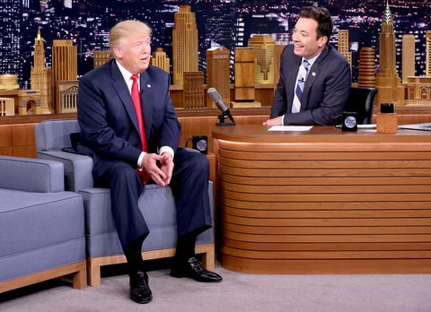 Republican Presidential Candidate Donald Trump during an interview with host Jimmy Fallon on September 15, 2016 on The Tonight Show Starring Jimmy Fallon.