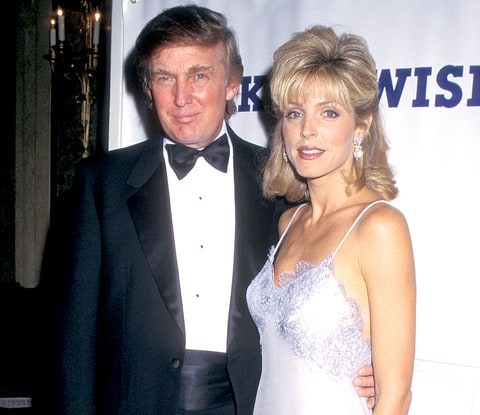 Donald Trump and Marla Maples during a Dinner Dance Benefit for the Make A Wish Foundation at the Plaza Hotel in New York City.