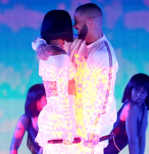 Rihanna and Drake perform together at the BRIT Awards 2016.
