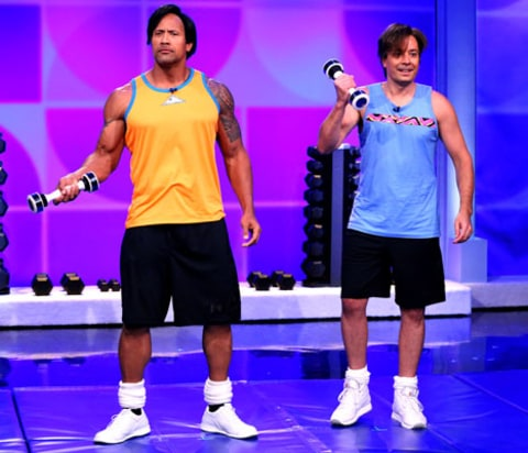 Dwayne Johnson and Jimmy Fallon