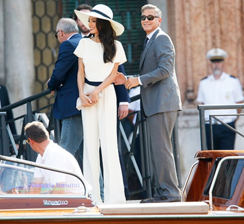 george and amal on way to civil ceremony