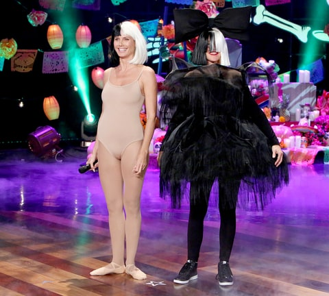Heidi Klum and Ellen DeGeneres dressed up as Maddie Ziegler and Sia.