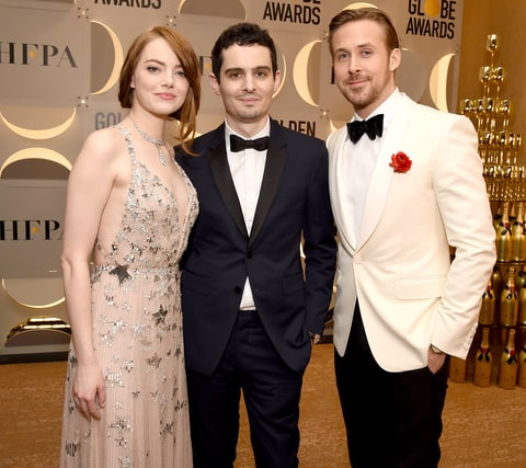 Emma Stone, Damien Chazelle and Ryan Gosling attend the 74th Annual Golden Globe Awards at the Beverly Hilton Hotel on Jan. 8, 2017, in Beverly Hills.