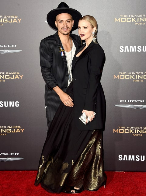 Evan Ross and Ashlee Simpson attend the premiere of Lionsgate's