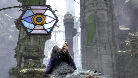 Trico is inordinately afraid of these stained glass eyes.