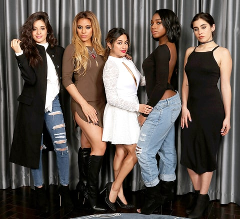 Camila Cabello, Dinah Jane Hansen, Ally Brooke, Normani Kordei and Lauren Jauregui of Fifth Harmony, promoting their single