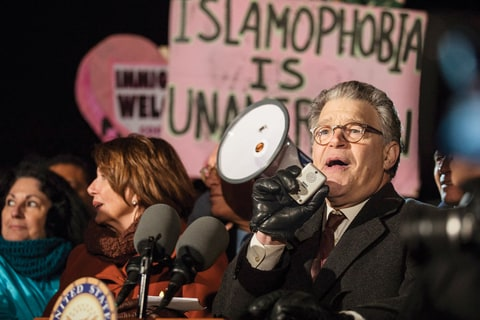 Senator Al Franken speaks out with Congressional Democrats in front of the U.S. Supreme Court against President Donald Trumps Executive Order banning citizens from seven Muslim-majority countries from traveling to the United States in Washington, USA on January 30, 2017.
