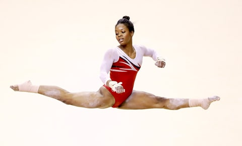 Gabrielle Douglas competes on the floor exercise during day 2 of the 2016 U.S. Olympic Women's Gymnastics Team Trials at SAP Center on July 10, 2016 in San Jose, California.