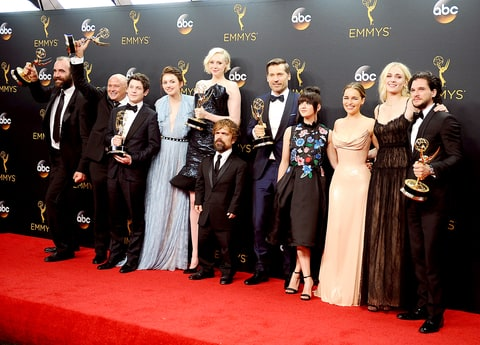 Actors Rory McCann, Conleth Hill, Iwan Rheon, Gwendoline Christie, Peter Dinklage, Nikolaj Coster-Waldau, Maisie Williams, Emilia Clarke, Sophie Turner and Kit Harington, winners of Best Drama Series for 'Game of Thrones,' pose in the press room at the 68th annual Primetime Emmy Awards.