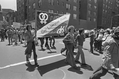 A group marched from Sheridan Square in the Village up 6th Ave to the Sheep Meadow in Central Park, New York City, June 28, 1970.