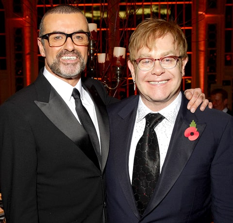 George Michael and Sir Elton John attend a charity performance benefiting the Elton John AIDS Foundation's newly created Elizabeth Taylor Memorial Fund at the Royal Opera House on November 6, 2011 in London, England.