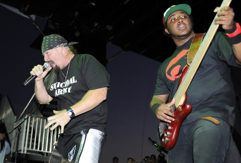 Mike Muir (L) and Steve 'Thundercat' Brunner of Suicidal Tendencies perform as part of the 2010 Epicenter Music Festival at Auto Club Speedway on September 26, 2010 in Fontana, California.