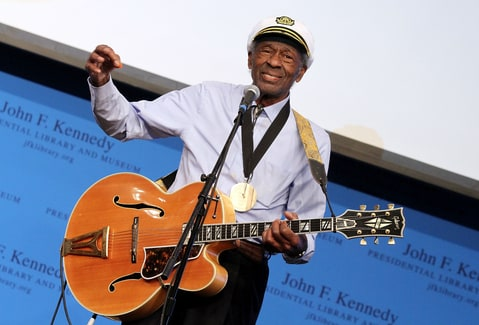 Honoree Chuck Berry performs during the 2012 Awards for Lyrics of Literary Excellence at The John F. Kennedy Presidential Library And Museum on February 26, 2012 in Boston, Massachusetts.