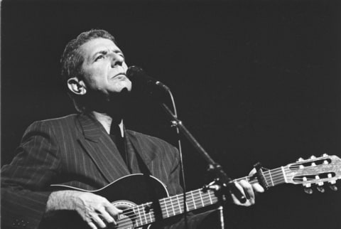 Canadian singer and musician Leonard Cohen performs at the Muziektheater in Amsterdam, Netherlands on 18th April 1988
