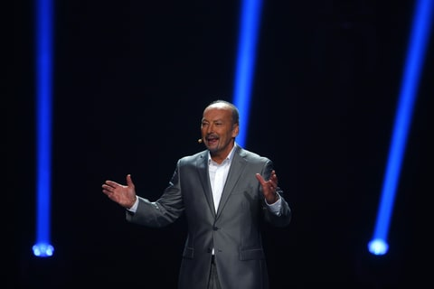 Peter Moore on stage at E3 2013