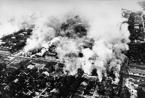 Aerial view of widespread fires started during the riots in Detroit, Michigan, July 1967.