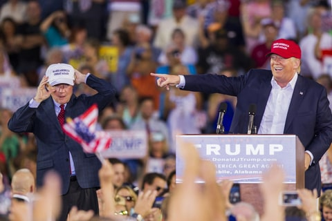 MOBILE, AL- AUGUST 21: U.S. Republican presidential candidate Donald Trump introduces Alabama Senator Jeff Sessions (R)  Mobile during his rally at Ladd-Peebles Stadium on August 21, 2015 in Mobile, Alabama. The Donald Trump campaign moved tonight's rally to a larger stadium to accommodate demand.