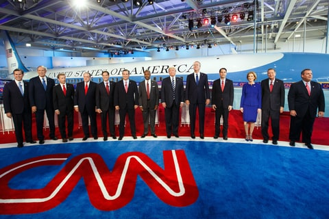 2016 Republican presidential candidates stand on stage during the Republican presidential debate at the Ronald Reagan Presidential Library in Simi Valley, California, U.S., on Wednesday, Sept. 16, 2015.