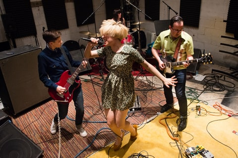 Local punk band the Priests are pictured practicing in Washington, DC on May 9, 2014. They have a big debut recording coming out on June 3. From left to right are Taylor Mulitz, 23, Katie Alice Greer, 26, Daniele Daniele, 28, and G.L. Jaguar, 26.