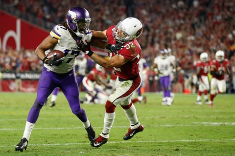 Mathieu tackles Jarius Wrigh of the Minnesota Vikings during a game on December 10, 2015 in Glendale, Arizona.