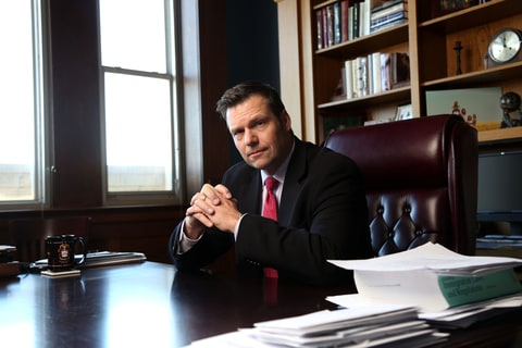 Kansas Secretary of State Kris Kobach discusses the Kansas proof of citizenship requirements for voter registration in his office in Topeka, Ks. Wednesday February 17, 2015.