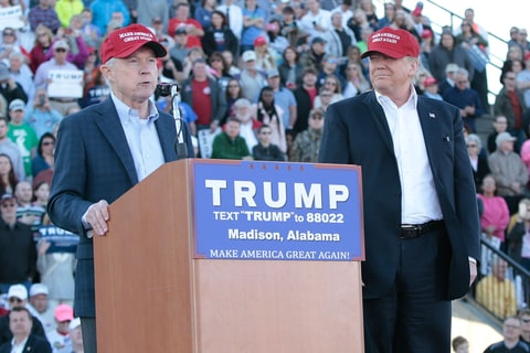 United States Senator Jeff Sessions, R-Alabama, beomes the first Senator to endorse Donald Trump for President of the United States at Madison City Stadium on February 28, 2016 in Madison, Alabama.