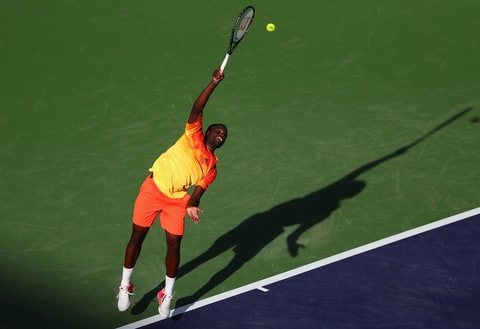 Frances Tiafoe of USA in action against Taylor Fritz of USA during day four of the BNP Paribas Open at Indian Wells Tennis Garden on March 10, 2016 in Indian Wells, California.