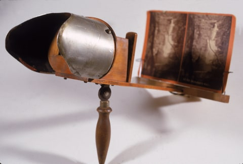 View of an antique Stereoscope, or 3-D veiwer, early 1900s.