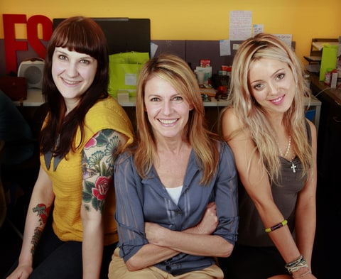Managing Editor Emily McCombs, Jane Pratt and Cat Marnell at xoJane in 2011.