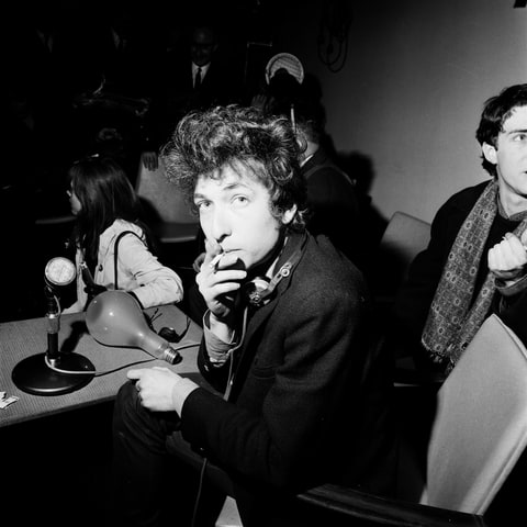 Bob Dylan at a press conference, London, 1965.