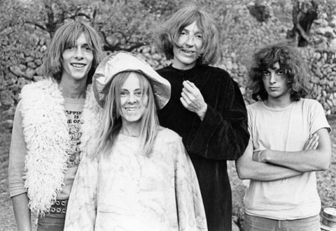 Smyth, front, pictured with Daevid Allen (left) and members of the Banana Moon Band, Marc Blanc and Patrick Fontaine in 1968.