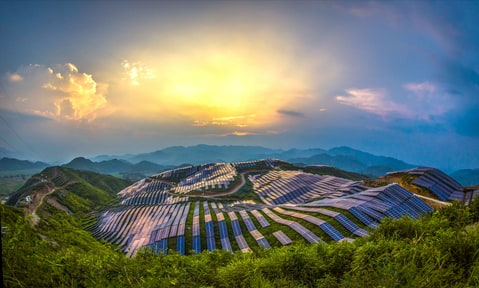 View of Xinyi photo-voltaic power station on August 21, 2016 in Songxi, China.