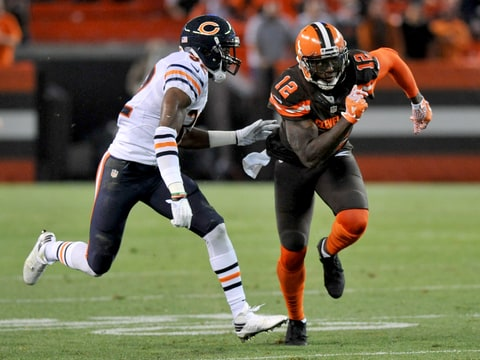 Wide receiver Josh Gordon #12 of the Cleveland Browns runs a route during a preseason game against the Chicago Bears on September 1, 2016 at FirstEnergy Stadium in Cleveland, Ohio. Chicago won 21-7.