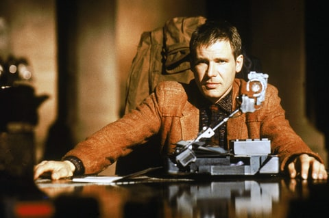 Harrison Ford on the set of 'Blade Runner', directed by Ridley Scott