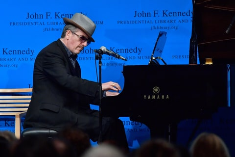 Elvis Costello performs at the PEN/Song Lyrics Awards for Literary Excellence honoring John Prine and Kathleen Brennan & Tom Waits at the John F. Kennedy Presidential Library and Museum on September 19, 2016 in Boston, Massachusetts.