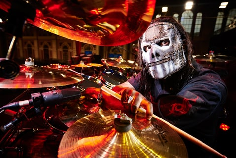 ortrait of American musician Jay Weinberg, drummer with heavy metal group Slipknot, photographed before a live performance at Alexandra Palace in London, on February 16, 2016.