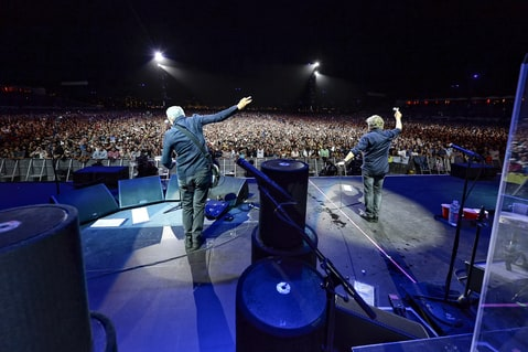Musicians Pete Townshend (L) and Roger Daltrey of The Who perform onstage during Desert Trip at The Empire Polo Club on October 16, 2016 in Indio, California. (