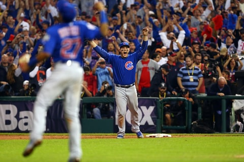 Anthony Rizzoof the Chicago Cubs celebrates after catching the final out to defeat the Cleveland Indians in Game 7 of the 2016 World Series.
