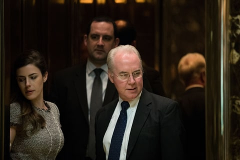 NEW YORK, NY - NOVEMBER 16: Rep. Tom Price gets into an elevator at Trump Tower, November 16, 2016 in New York City. President-elect Donald Trump and his transition team are in the process of filling cabinet positions for the new administration.