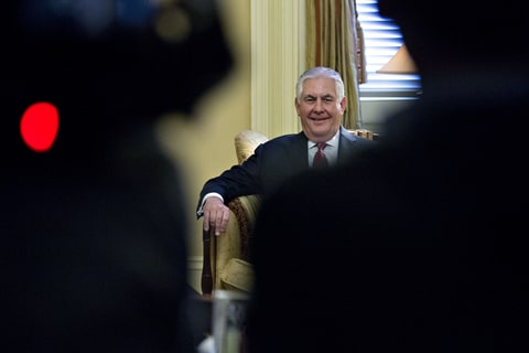 Rex Tillerson, former chief executive officer of Exxon Mobile Corp. and U.S. secretary of state nominee for president-elect Donald Trump, sits during a meeting with Senate Majority Leader Mitch McConnell, a Republican from Kentucky, not pictured, on Capitol Hill in Washington, D.C., U.S., on Wednesday, Jan. 4, 2017. Tillerson will relinquish control of about $240 million in company shares if confirmed as he severs ties to comply with conflict-of-interest requirements.